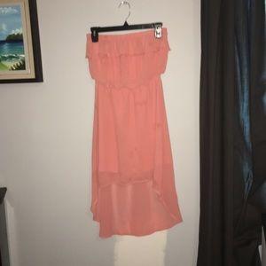 high low peach dress